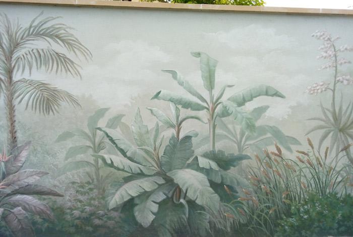 Décoration murale sur mur de jardin – Mur végétal peint