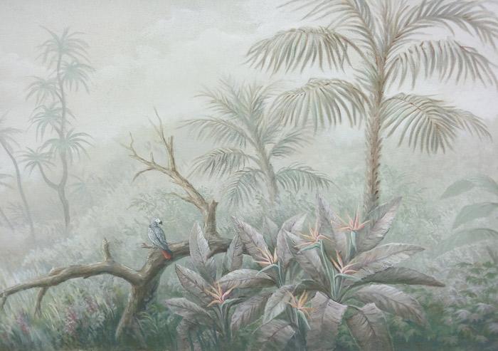 Fresque murale peinte sur mur extérieur de jardin